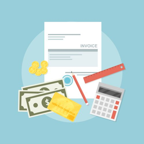 picture of invoice sheet, pen, calculator, ruler, coins, banknotes and credit card, flat style illustration, invoice payment concept